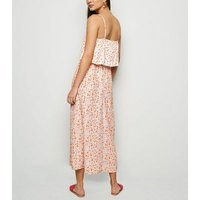 White Floral Lattice Front Midi Dress New Look