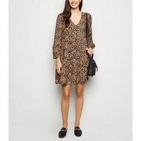 Brown Brushstroke Animal Print Smock Dress New Look