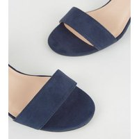 Girls Navy Suedette 2 Part Sandals New Look
