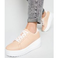 Nude Lace Up Wedge Heel Trainers New Look