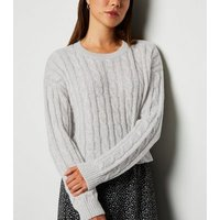 Pale Grey Cable Knit Crop Jumper New Look