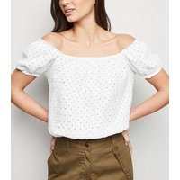 White Broderie Bardot Top New Look