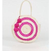 Pink Straw Round Pom Pom Bag New Look