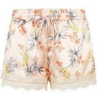 Pink Floral Satin Lace Trim Pyjama Shorts New Look