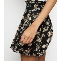 Brave Soul Black Floral Shirred Waist Skirt New Look