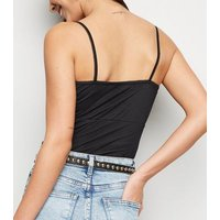 Black Mesh Bow Front Ruched Cami New Look