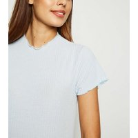 Maternity Pale Blue Ribbed Frill Trim Midi Dress New Look