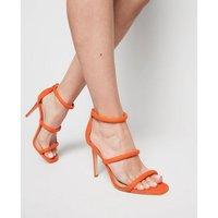 Orange Suedette Tube Strap Stiletto Heels New Look