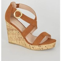 Wide Fit Tan Suedette Strappy Cork Wedges New Look Vegan
