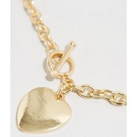 Gold Heart Chain Necklace New Look
