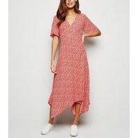 Red Ditsy Floral Hanky Hem Midi Wrap Dress New Look
