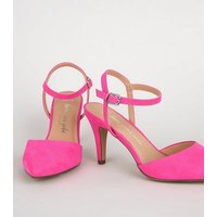 Wide Fit Bright Pink Suedette Pointed Courts New Look