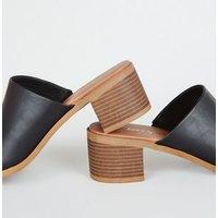 Black Leather-Look Wood Heel Mules New Look Vegan