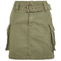 Petite Khaki Belted Denim Utility Skirt New Look