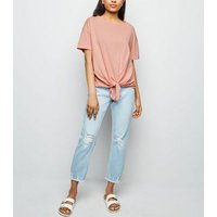 Petite Coral Tie Front Short Sleeve T-Shirt New Look
