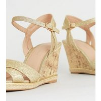 Wide Fit Gold Glitter Espadrille Cork Wedges New Look