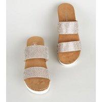 Wide Fit Silver Diamanté Cork Flatform Sandals New Look Vegan