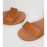 Wide Fit Tan Leather-Look Footbed Sandals New Look