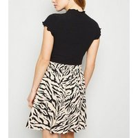 Petite Brown Tiger Print Button Up Mini Skirt New Look