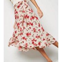 White Floral Ruffle Wrap Midi Skirt New Look