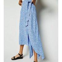Blue Floral Tie Side Midi Skirt New Look