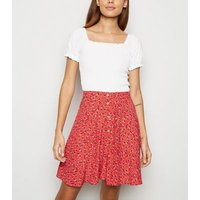 Red Ditsy Floral Button Up Skater Skirt New Look