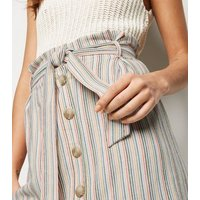 White Stripe Linen Look Paperbag Mini Skirt New Look