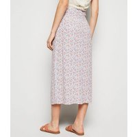 Blue Ditsy Floral Button Midi Skirt New Look