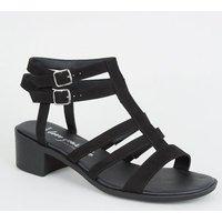 Wide Fit Black Caged Low Heel Footbed Sandals New Look Vegan