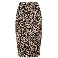 Brown Leopard Print Pencil Skirt New Look