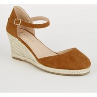 Wide Fit Tan Suedette Espadrille Wedges New Look