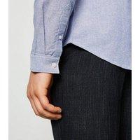 Pale Blue Grandad Collar Oxford Shirt New Look