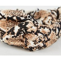 Mid Brown Snake Print Twist Headband New Look