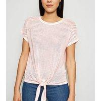 Pale Pink Tie Front Fine Knit Top New Look