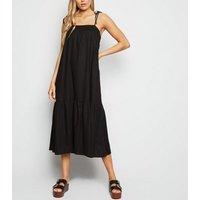 Black Linen Look Tiered Midi Dress New Look