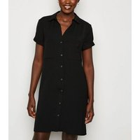 Black Short Sleeve Shirt Dress New Look