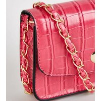 Bright Pink Faux Croc Chain Shoulder Bag New Look