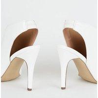 White Crinkle Patent Slingback Heels New Look