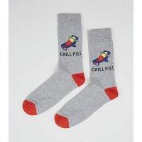 Light Grey Chill Pill Slogan Socks New Look