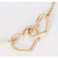 Gold Linked Heart Pendant Necklace New Look
