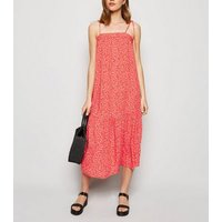 Red Ditsy Floral Tiered Smock Midi Dress New Look