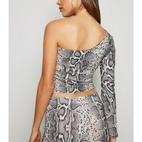 Brown Snake Print Glitter One Shoulder Top New Look