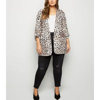 Curves Brown Leopard Print Scuba Blazer New Look