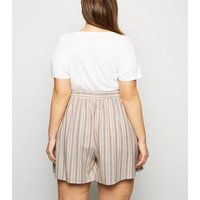 Curves White Stripe Linen Look Shorts New Look