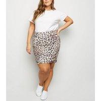 Curves Brown Leopard Print Mini Skirt New Look