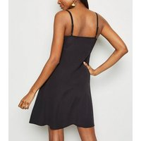 Black Square Neck Strappy Mini Dress New Look