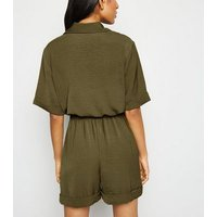 Petite Khaki Button Up Utility Playsuit New Look
