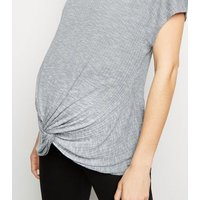 Maternity Grey Fine Knit Twist Front Top New Look