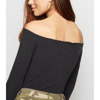 Black Ribbed Frill Trim Bardot Bodysuit New Look