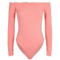 Coral Frill Trim Bardot Bodysuit New Look